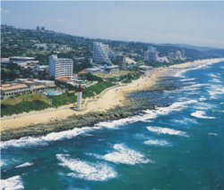 Durban coast line, clear sunny skies. Our Durban shuttle service will get you there safely and fully relaxed.